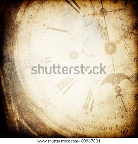 Antique pocket clock face. Grunge background with copyspace. - stock photo