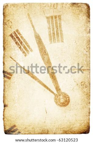 Antique pocket clock face. Grunge isolated background. - stock photo