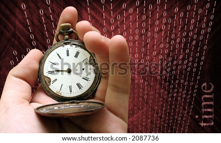 Antique pocket clock in a man hand isolated on matrix background - stock photo