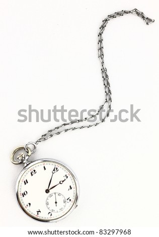 Antique pocket clock with chain - stock photo