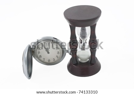 Antique pocket watch and wooden hour-glass (isolated on white) - stock photo