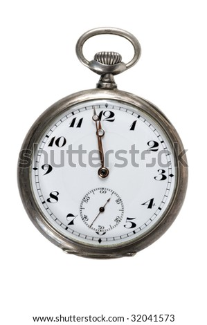 Antique Pocket Watch, isolated on white.