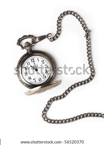 Antique pocket watch on a chain with open lid. Isolated on white background. - stock photo