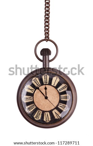 Antique pocket watch on a white background - stock photo