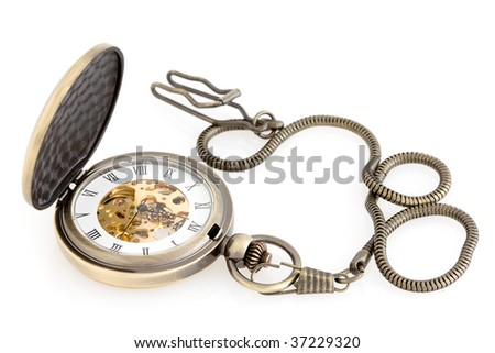 Antique pocket watch on white.