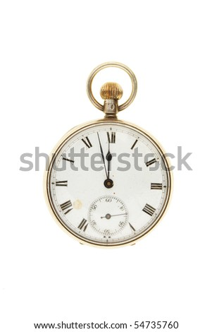 Antique pocket watch set at two minutes to twelve