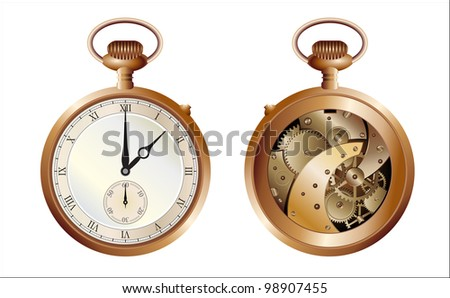 antique pocket watch, view on the front side and a mechanical machine - stock photo