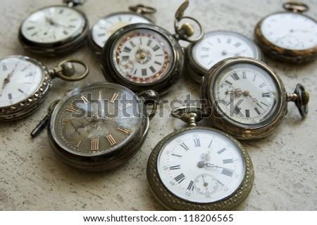 Antique pocket watches - stock photo