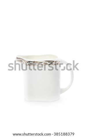 antique porcelain tea set on white background