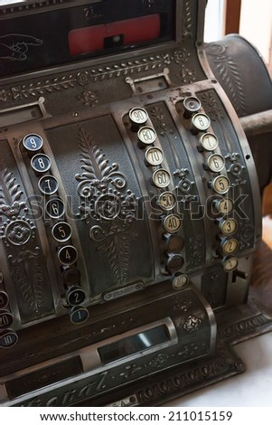 Antique portuguese cash register - stock photo
