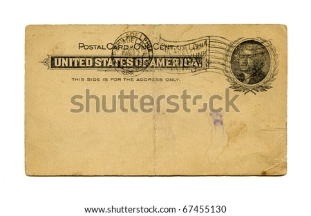 Antique Postal Card front, Philadelphia stamp, Thomas Jefferson, circa 1898 - stock photo