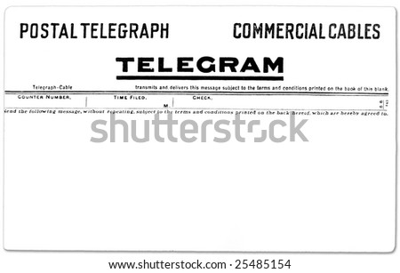 Antique postal telegram with copy space for your own message. - stock photo
