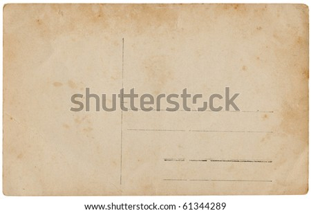 Antique postcard back, isolated on white background