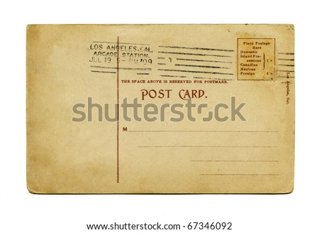 Antique Postcard back Los Angeles stamp - stock photo