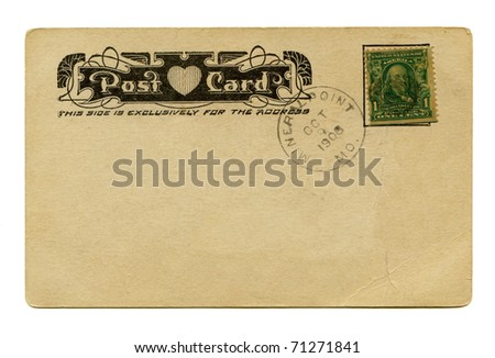 Antique Postcard back with heart - stock photo
