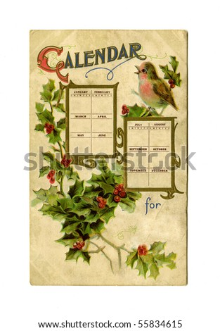 Antique postcard blank 12 months calender circa 1909 - stock photo
