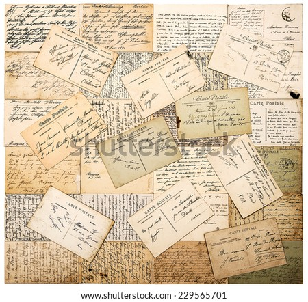 antique postcards. old handwritten undefined texts from ca. 1900. grunge retro style papers background