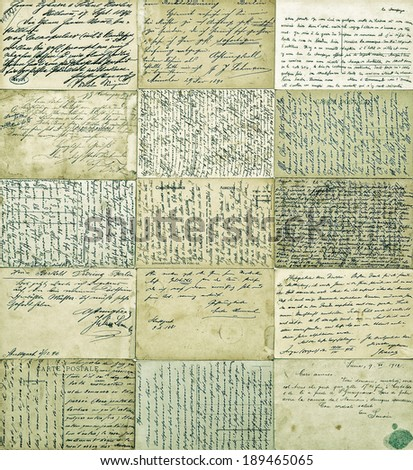 antique postcards. old handwritten undefined texts from ca. 1900. vintage style toned and textured picture - stock photo