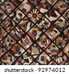 Antique Quilt, richly textured from many pieces of fabric, circa 1886. - stock photo