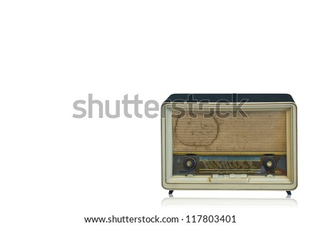 Antique radio, 50's, isolated on white background