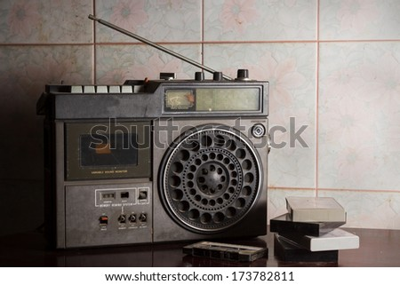 Antique radio with cassettes,  - stock photo