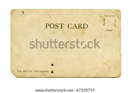 Antique Real Photo Postcard back - stock photo