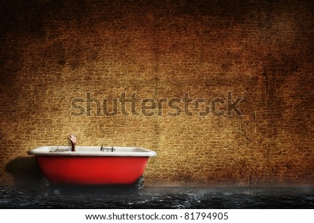 Antique red bath tub - stock photo
