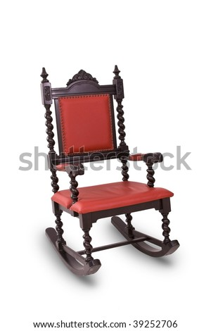 Antique red Rocking Chair isolated in white background - stock photo