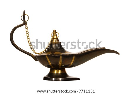 Antique reproduction artisanal oil lamp isolated on white