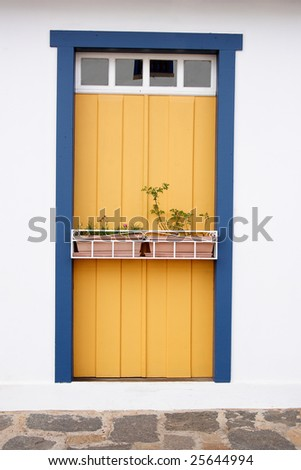 Antique restored door. - stock photo