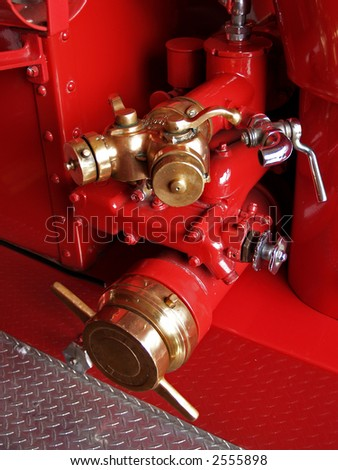 antique restored firefighters truck - stock photo