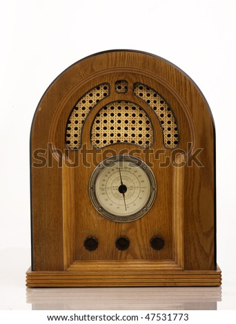 Antique retro wood radio and speaker - stock photo