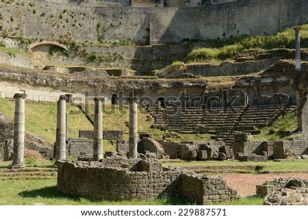 Antique roman Amphitheater in Volterra, Tuscany-Italy