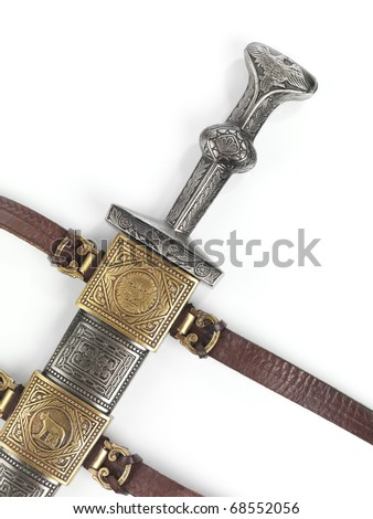 Antique Roman dagger short sword in scabbard isolated on white background - stock photo