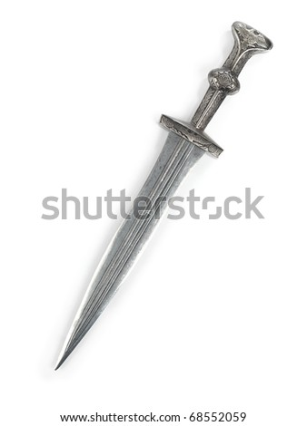 Antique Roman dagger short sword isolated on white background