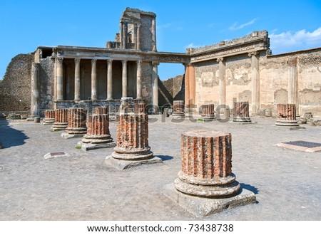 Antique roman temple in Pompeii, Italy - stock photo