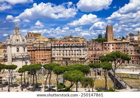 antique Rome, piazza Venezia - stock photo