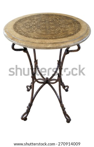 antique round marble and metal table isolated on white background  - stock photo