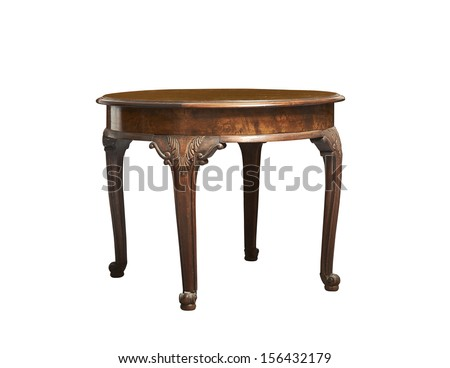 antique round table against white background - stock photo