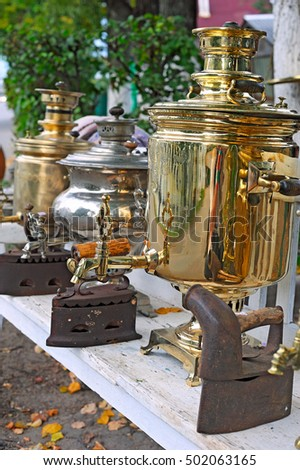 Antique russian samovars and irons