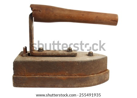 Antique rusty electric iron isolated on white background - stock photo