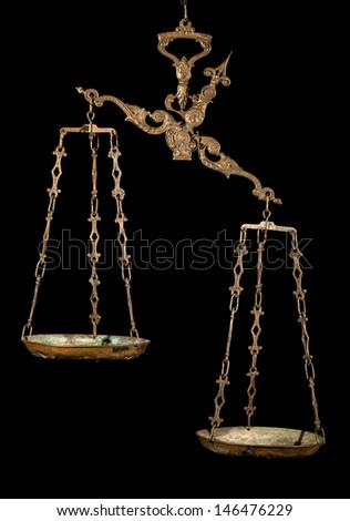 Antique rusty weighing scale isolated on black - stock photo