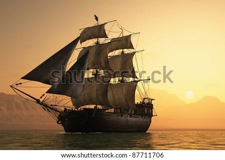 Antique sailing ship at sea. - stock photo