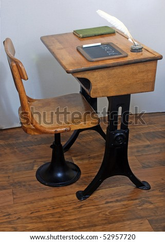 antique school desk chair on old stock photo royalty free 52957720