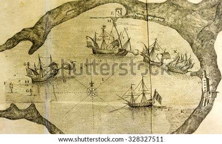 Antique sea map of a vessel battle in a port close up detail - stock photo