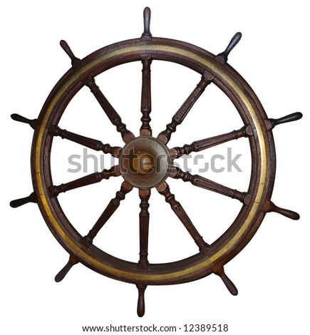 Antique Ship's Wheel isolated with clipping path