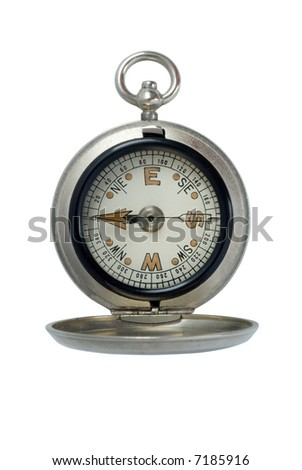 Antique silver compass isolated on white - stock photo