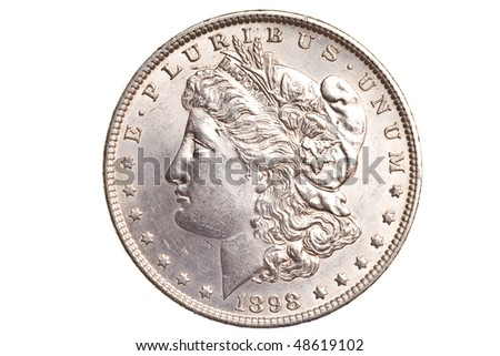 antique silver dollar isolated on white background - stock photo