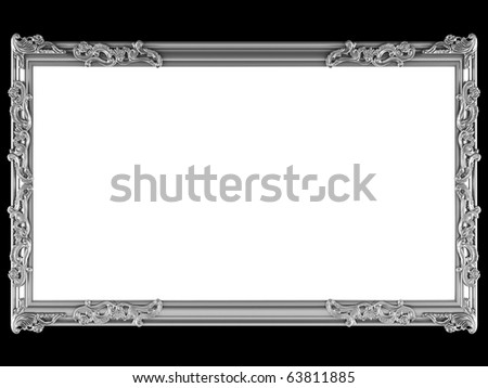 Antique silver ornamented picture frame isolated on black, insert your own design, similar frames available in my portfolio - stock photo
