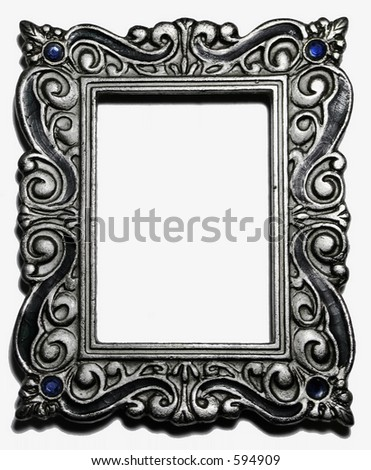 Antique silver picture frame - stock photo